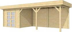 Blokhut Bonte Specht met luifel 500, afm. 800 x 250 cm, plat dak, houtdikte 28 mm