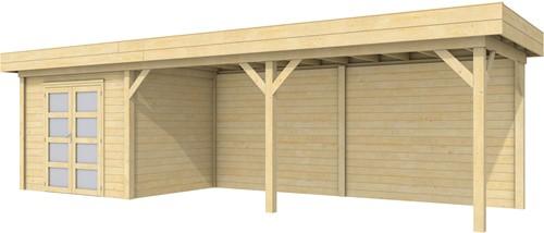 Blokhut Bonte Specht met luifel 600, afm. 900 x 250 cm, plat dak, houtdikte 28 mm.