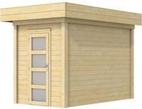 Blokhut Kiekendief, afm. 203 x 303 cm. plat dak, houtdikte 28 mm.