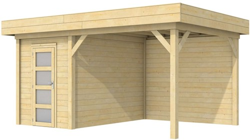 Blokhut Kiekendief met luifel 300, afm. 493 x 303 cm, plat dak, houtdikte 28 mm.