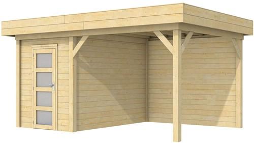 Blokhut Kiekendief met luifel 300, afm. 500 x 300 cm, plat dak, houtdikte 28 mm.