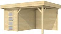 Blokhut Kiekendief met luifel 400, afm. 586 x 303 cm, plat dak, houtdikte 28 mm.