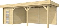 Blokhut Kiekendief met luifel 500, afm. 684 x 303 cm, plat dak, houtdikte 28 mm.