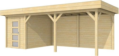 Blokhut Kiekendief met luifel 500, afm. 684 x 303 cm, plat dak, houtdikte 28 mm. - onbehandeld (blank)