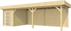 Blokhut Kiekendief met luifel 600, afm. 784 x 303 cm, plat dak, houtdikte 28 mm.