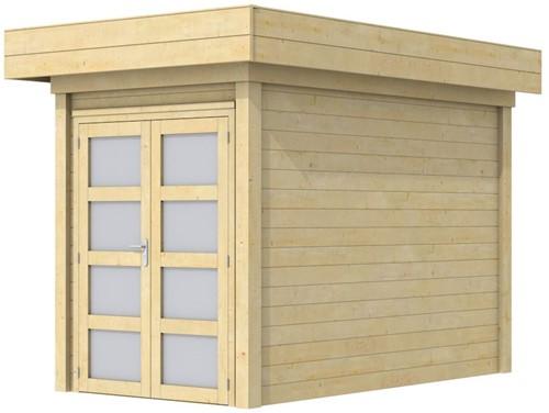 Blokhut Zwaluw, afm. 203 x 303 cm, houtdikte 28 mm, plat dak - onbehandeld (blank)