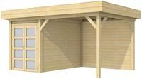 Blokhut Zwaluw met luifel 400, afm. 600 x 300 cm, plat dak, houtdikte 28 mm.
