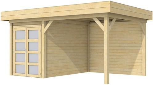 Blokhut Zwaluw met luifel 400, afm. 586 x 303 cm, plat dak, houtdikte 28 mm.