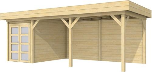 Blokhut Zwaluw met luifel 500, afm. 684 x 303 cm, plat dak, houtdikte 28 mm. - onbehandeld (blank)