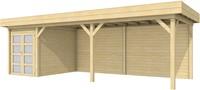 Blokhut Zwaluw met luifel 600, afm. 800 x 300 cm, plat dak, houtdikte 28 mm.