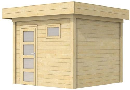 Blokhut Bonte Kraai, afm. 303 x 253 cm, plat dak, houtdikte 28 mm.