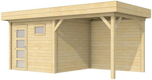 Blokhut Bonte Kraai met luifel 300, afm. 596 x 253 cm, plat dak, houtdikte 28 mm.