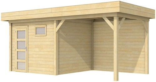 Blokhut Bonte Kraai met luifel 400, afm. 700 x 250 cm, plat dak, houtdikte 28 mm.