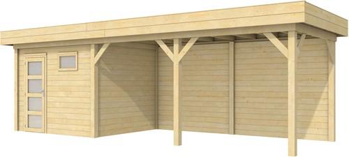 Blokhut Bonte Kraai met luifel 500, afm. 787 x 253 cm, plat dak, houtdikte 28 mm.