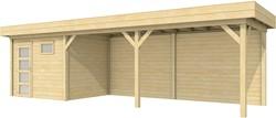 Blokhut Bonte Kraai met luifel 600, afm. 900 x 250 cm, plat dak, houtdikte 28 mm.