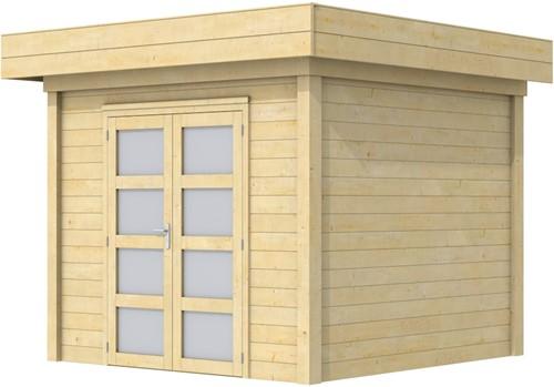 Blokhut Bonte Specht, afm. 303 x 253 cm, plat dak, houtdikte 28 mm.