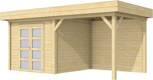 Blokhut Bonte Specht met luifel 300, afm. 596 x 253 cm, plat dak, houtdikte 28 mm.