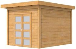 Douglas tuinhuis Roek, afm. 298 x 289 cm, plat dak, houtdikte 28 mm.