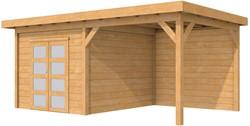 Douglas tuinhuis met luifel 300 cm, afm. 584 x 289 cm, plat dak, houtdikte 28 mm.
