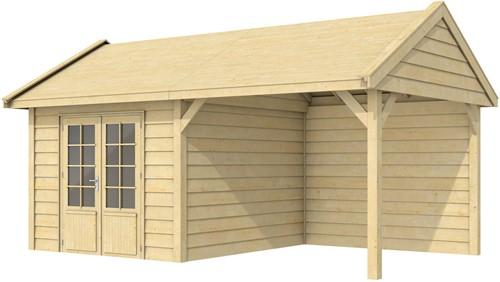 Blokhut Poolvos met luifel 300, afm. 600 x 300 cm, zadeldak, houtdikte 28 mm.