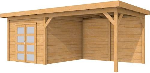 Douglas tuinhuis Roek met luifel 400 cm, afm. 686 x 303 cm, plat dak, houtdikte 28 mm.