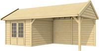 Blokhut Poolvos met luifel 400, afm. 700 x 300 cm, zadeldak, houtdikte 28 mm.