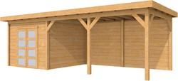 Douglas tuinhuis Roek met luifel 500 cm, afm. 770 x 289 cm, plat dak, houtdikte 28 mm.