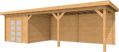 Douglas tuinhuis Roek met luifel 600 cm, afm. 870 x 289 cm, plat dak, houtdikte 28 mm.