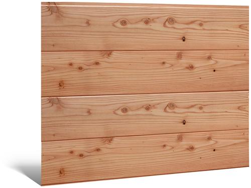 Blokhutprofiel wand B, Douglas, wand t.b.v. dubbele deur, afm. 228,5 x 224 cm.