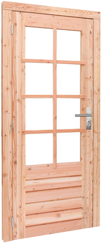Douglas enkele deur incl. kozijn, 8-ruits helder, afm. 90 x 201 cm.