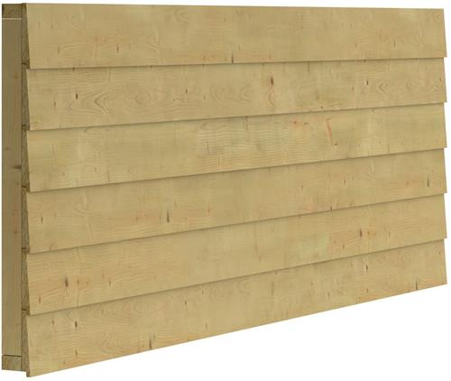 Zweeds rabat wand B, enkelzijdig,  t.b.v. dubbele deur, afm. 228,5 x 224 cm.