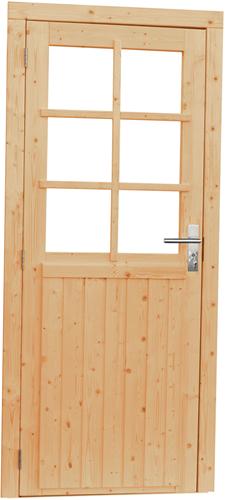 Vuren enkele deur incl. kozijn, 6-ruits met glas, afm. 90 x 201 cm.