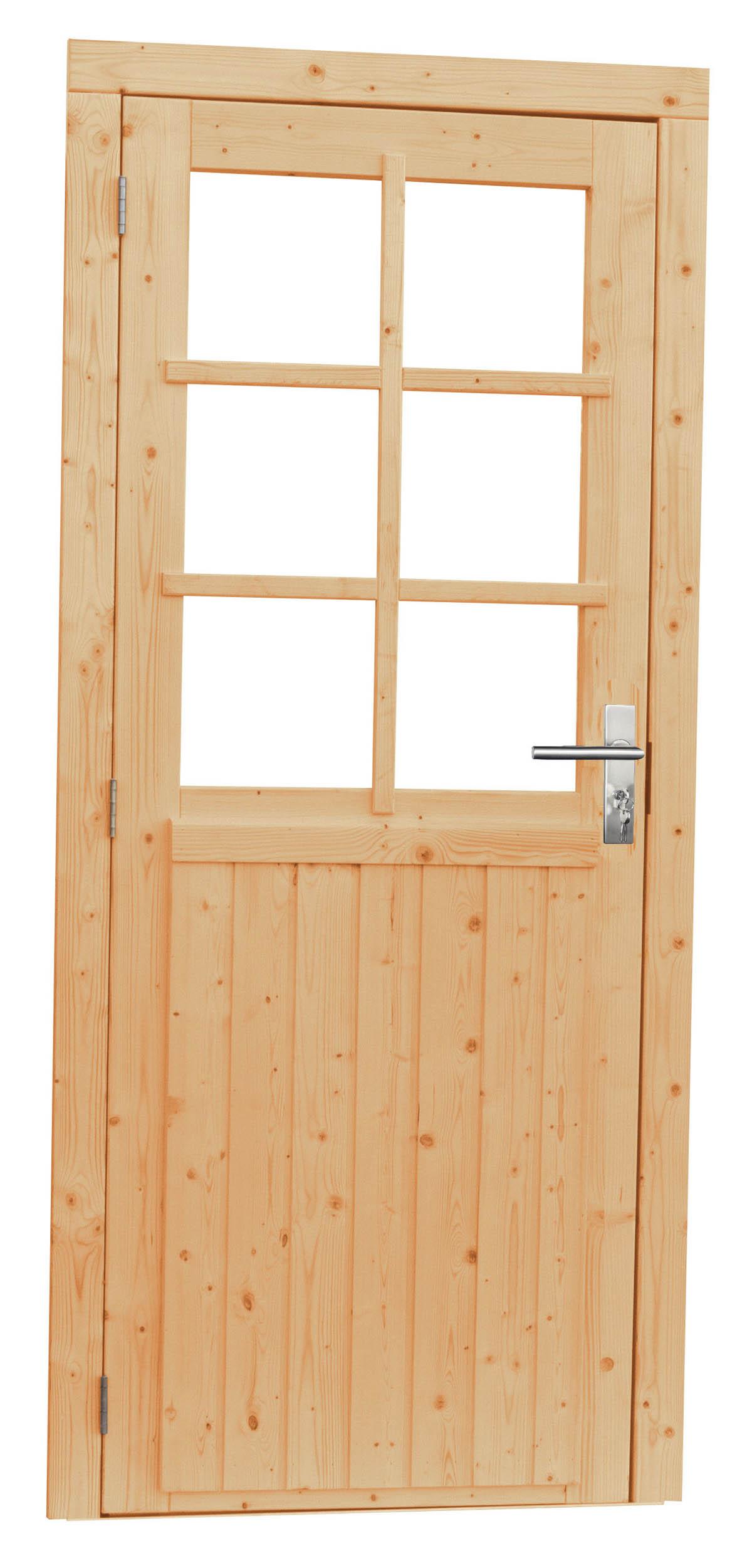 Kühlkamp Vuren enkele deur incl. kozijn, 6-ruits met glas, afm. 90 x 201 cm. - linksdraaiend - groen geïmpregneerd vuren
