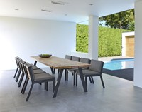 Borek Twisk dining tafel, aluminium frame, teak tafelblad