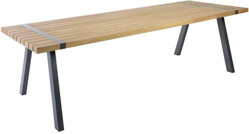 Borek Twisk dining tafel, aluminium frame, teak tafelblad-2