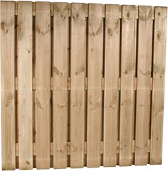 Tuinscherm, 22-planks, afm. 180 x 180 cm, geïmpregneerd grenen B-keus (licht verweerd)