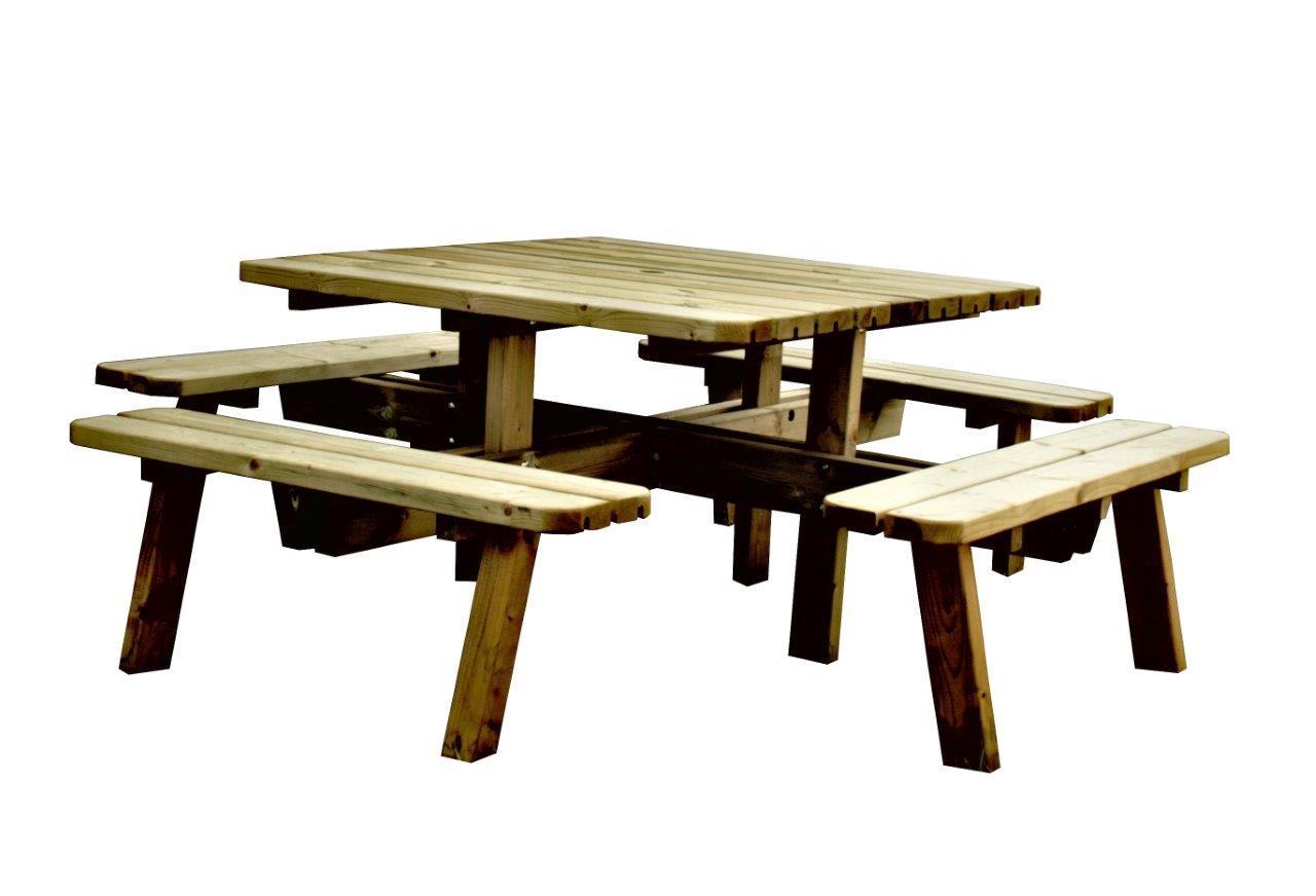SenS-Line Picknicktafel, vierkant, afm. 220 x 220 x 74 cm, geimpregneerd grenen, houtdikte 42 mm