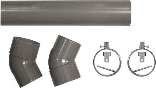 PVC hemelwaterafvoerset, diameter 80 mm, lengte 275 cm