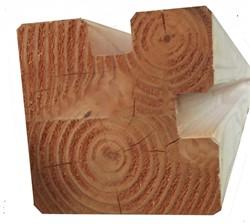 Hoekstaander, duplo verlijmd, afm. 14 x 14 x 240 cm, voor berging, douglas hout