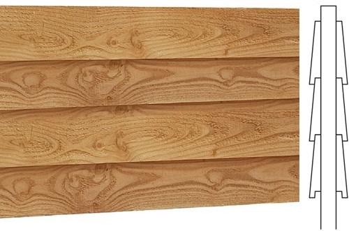 Wand J, dubbelzijdig Zweeds rabat, voor kapschuur. afm. 205 x 298 cm, douglas hout