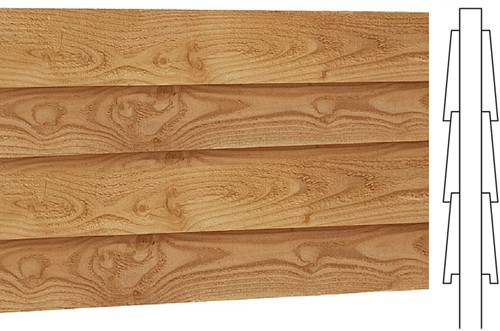 Wand B, dubbelzijdig Zweeds rabat, afm. 228 x 234 cm, douglas hout