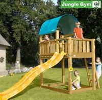 Jungle Gym speeltoren Jungle Barrack, montagekit inclusief glijbaan en houtpakket, op maat gezaagd