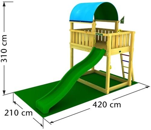Jungle Gym speeltoren Jungle Barrack, montagekit inclusief glijbaan en houtpakket, niet op maat gezaagd