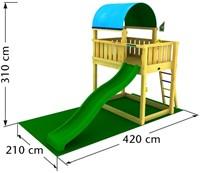Jungle Gym speeltoren Jungle Barrack, montagekit inclusief glijbaan en houtpakket, op maat gezaagd-2
