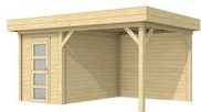 Blokhut Kiekendief met luifel 400, afm. 600 x 300 cm, plat dak, houtdikte 28 mm.