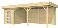 Blokhut Kiekendief met luifel 500, afm. 700 x 300 cm, plat dak, houtdikte 28 mm.