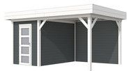 Blokhut Kiekendief met luifel 300, afm. 500 x 300 cm, plat dak, houtdikte 28 mm. - basis en deur wit, wand antraciet gespoten