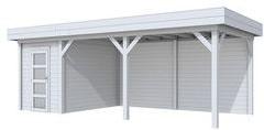 Blokhut Kiekendief met luifel 500, afm. 700 x 300 cm, plat dak, houtdikte 28 mm. - volledig grijs gespoten