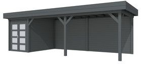 Blokhut Zwaluw met luifel 600, afm. 800 x 300 cm, plat dak, houtdikte 28 mm. - volledig antraciet gespoten