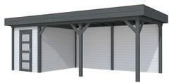 Blokhut Kiekendief met luifel 500, afm. 700 x 300 cm, plat dak, houtdikte 28 mm. - basis en deur antraciet, wand grijs gespoten
